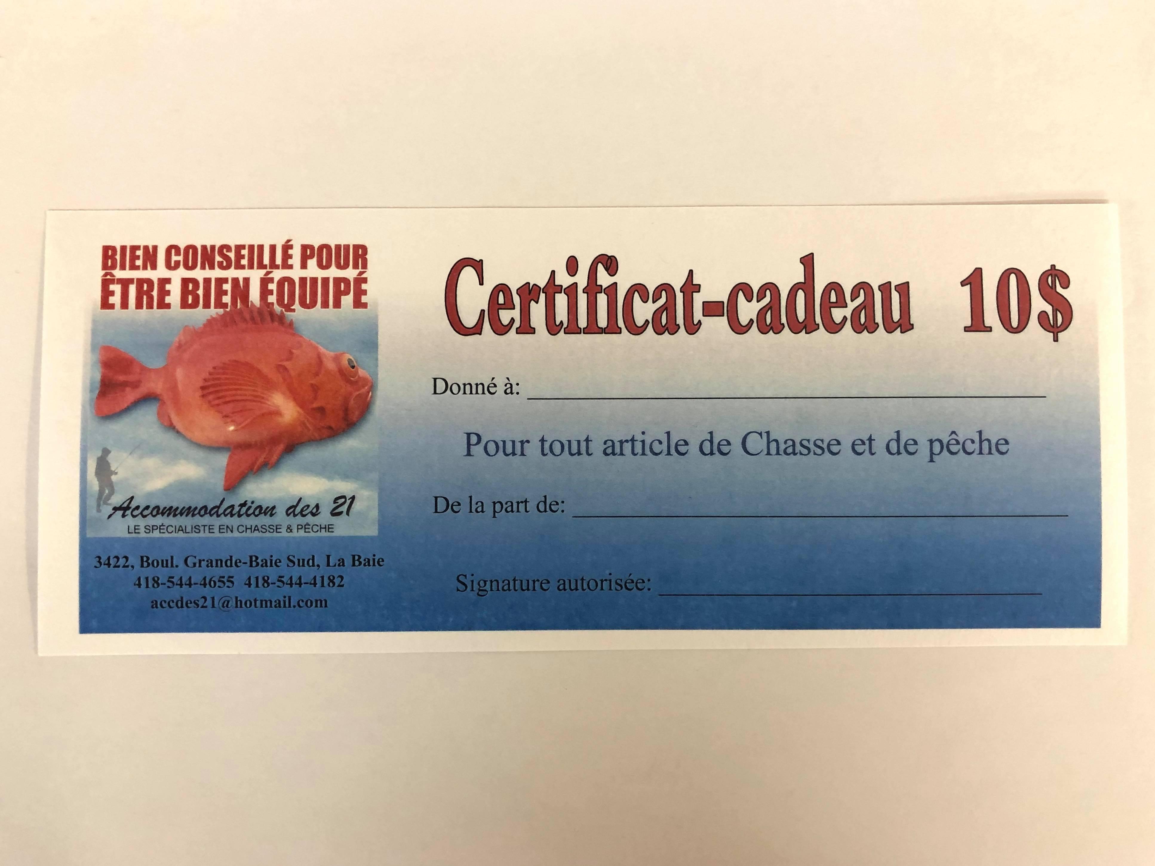 certificat cadeau 10$